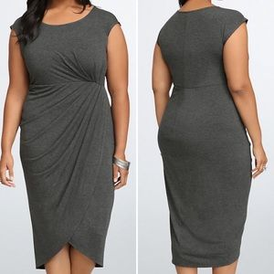 Torrid Charcoal Gray Shirred Tulip Midi Dress 1